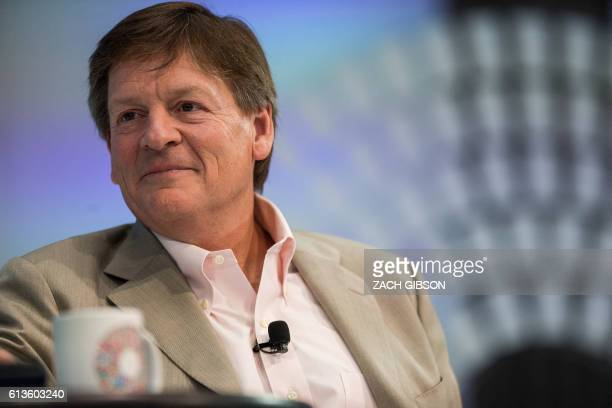 Author Michael Lewis speaks during a one on one conversation with IMF Managing Director Christine Lagarde at the 2016 Annual Meetings of the...