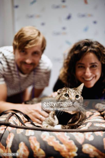 Author Mick Szydlowski Klaus of Oskar Klaus and author Gwen Cooper seen during a meet and greet at CatCon Worldwide 2018 at Pasadena Convention...