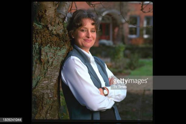 Author Minette Walters, best known for her crime fiction novels, photographed at home, circa 1997.