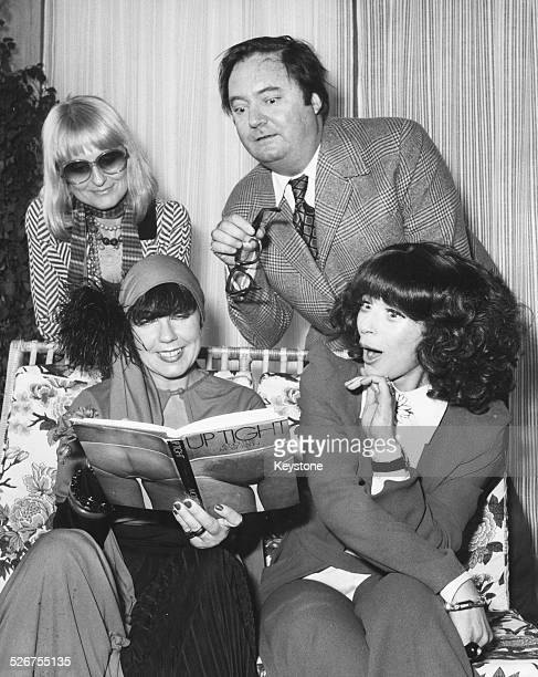 Author Molly Parkin reading her novel 'Uptight' with guests Barbara Hulainki Anthony Blond and Fenella Fielding at a cocktail party Martini Terrace...