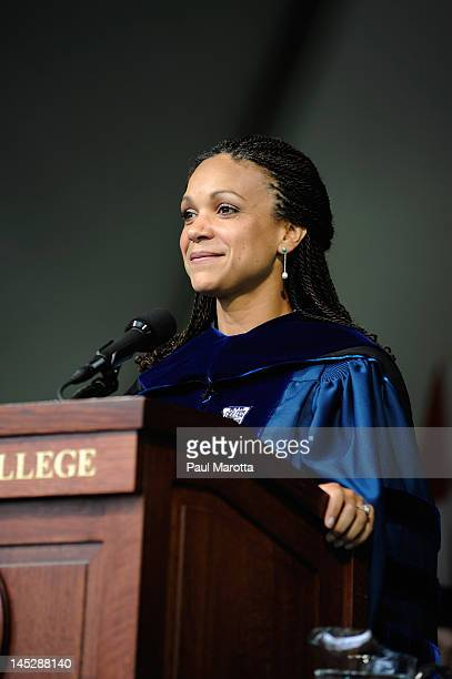 Author MSNBC television host and Tulane Professor Melissa Harris Perry addresses the 2012 graduating class at Wellesley College on May 25 2012 in...