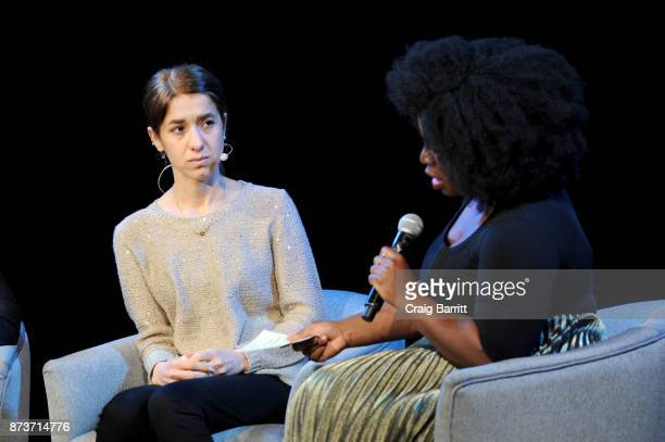 Author Nadia Murad and actress Uzo Aduba speak onstage during Glamour Celebrates 2017 Women Of The Year Live Summit at Brooklyn Museum on November 13...