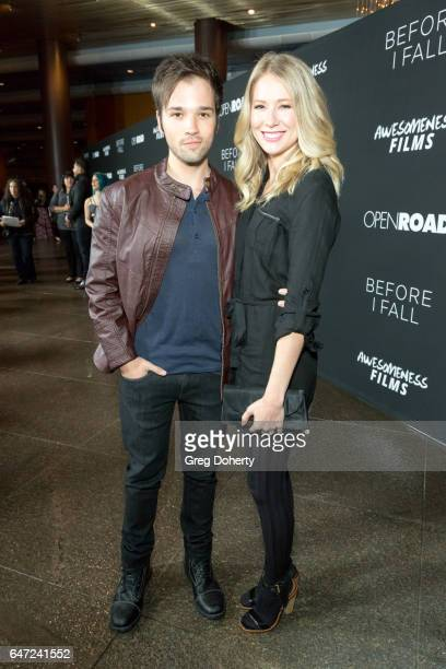 Author Nathan Kress and London Elise Kress attend the Premiere Of Open Road Films' 'Before I Fall' at the Directors Guild Of America on March 1 2017...