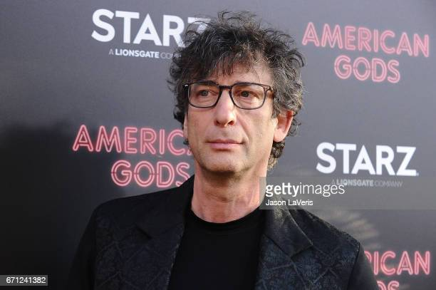 """Author Neil Gaiman attends the premiere of """"American Gods"""" at ArcLight Cinemas Cinerama Dome on April 20, 2017 in Hollywood, California."""
