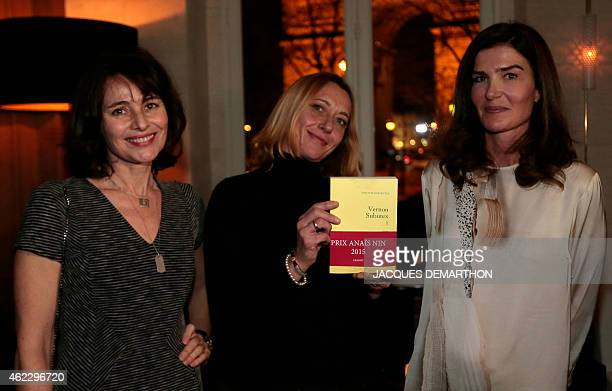 Author Nelly Alard one of the creators of the Anais Nin Prize poses for a photograph in Paris on January 26 2015 AFP PHOTO /JACQUES DEMARTHON / AFP /...
