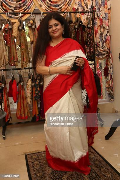 Author Nelofar Currimbhoy during a lunch party on the occasion of Bengali New Year hosted by the designer Pranay Baidya at D85 Dron Marg Defence...