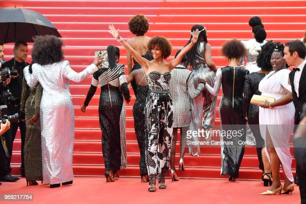 Author of the book Noire N'est Pas Mon Métier Sonia Rolland poses on the stairs at the screening of Burning during the 71st annual Cannes Film...