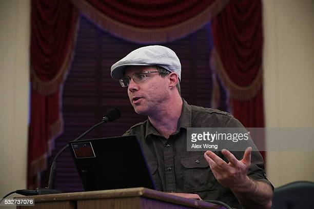 Author of the novel 'Martian' Andy Weir speaks during a briefing on Mars May 19 2016 on Capitol Hill in Washington DC Explore Mars Inc held a Capitol...