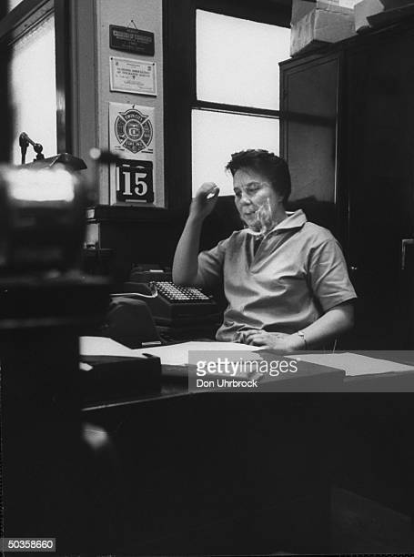 Author of To Kill a Mockingbird Harper Lee, in her father's law office while visting her home town.