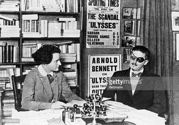 Author of Ulysses James Joyce and his publisher Sylvia Beach in an office in Paris