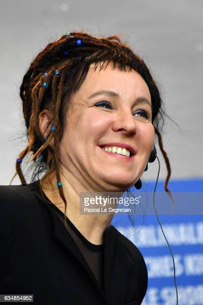 Author Olga Tokarczuk attends the 'Spoor' press conference during the 67th Berlinale International Film Festival Berlin at Grand Hyatt Hotel on...