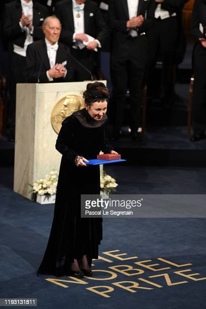 Author Olga Tokarczuk laureate of the Nobel Prize in Literature 2018 acknowledges applause after he received his Nobel Prize from King Carl XVI...