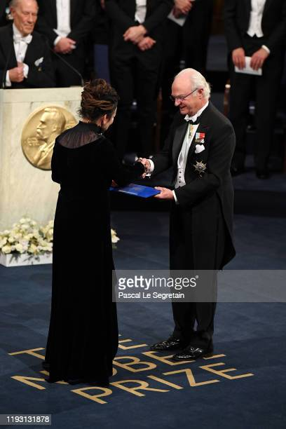 Author Olga Tokarczuk laureate of the Nobel Prize in Literature 2018 receives her Nobel Prize from King Carl XVI Gustaf of Sweden during the Nobel...