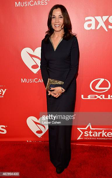 Author Olivia Harrison attends the 25th anniversary MusiCares 2015 Person Of The Year Gala honoring Bob Dylan at the Los Angeles Convention Center on...