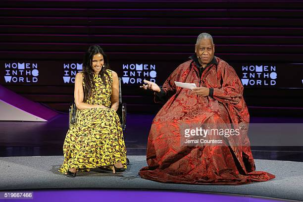 Author Padma Lakshmi and Andre Leon Talley speak onstage at Padma Lakshmi Second Act during Tina Brown's 7th Annual Women In The World Summit at...