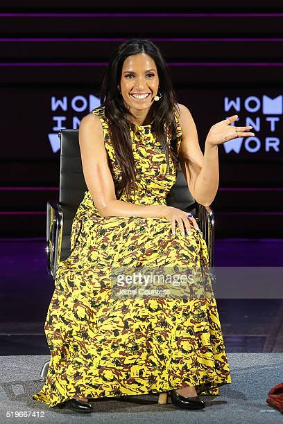 Author Padma Lakshmi speaks onstage at Padma Lakshmi Second Act during Tina Brown's 7th Annual Women In The World Summit at David H Koch Theater at...
