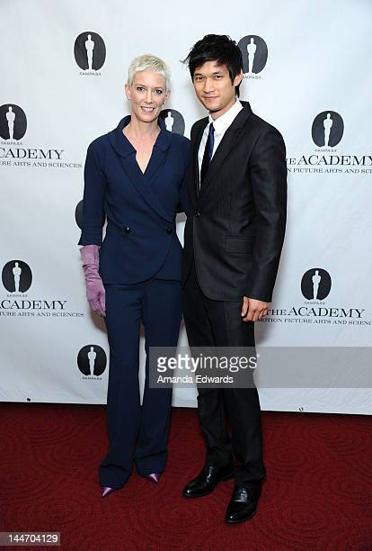 Author Patricia Ward Kelly and actor Harry Shum Jr arrive at the Academy of Motion Picture Arts and Sciences' Centennial Tribute to Gene Kelly at...
