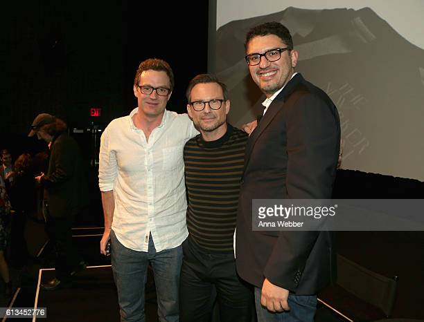 Author Patrick Radden Keefe, actor Christian Slater, and screenwriter Sam Esmail pose onstage during The New Yorker Festival 2016 at MasterCard Stage...