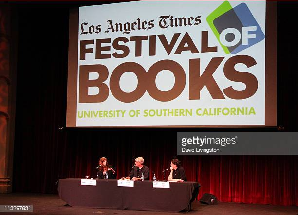 Author Patti Smith LA Times book critic David L Ulin and author David Eggers attend the 16th Annual Los Angeles Times Festival of Books Day 1 at USC...