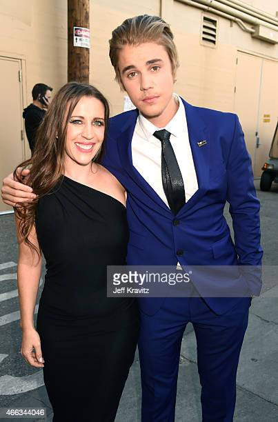 Author Pattie Mallette and honoree Justin Bieber attend The Comedy Central Roast of Justin Bieber at Sony Pictures Studios on March 14 2015 in Los...