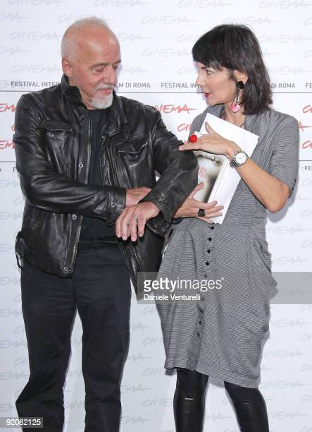 Author Paulo Coehlo and Elisabetta Sgarbi attend the Paulo Coehlo Photocall during day 6 of the 4th Rome International Film Festival held at the...
