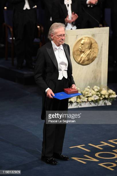 Author Peter Handke, laureate of the Nobel Prize in Literature 2019 acknowledges applause after he received his Nobel Prize from King Carl XVI Gustaf...