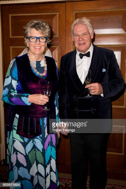 Author Prue Leith with her husband John Playfair as they attend a reception to mark The National Literacy Trust's 25th anniversary at Plaisterers'...