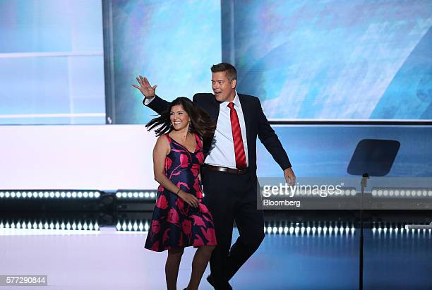 Author Rachel Campos Duffy left and Representative Sean Duffy a Republican from Wisconsin exit the stage after speaking during the Republican...