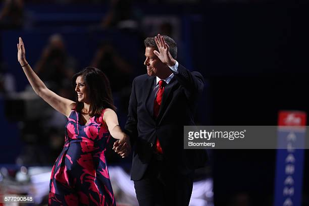 Author Rachel Campos Duffy left and Representative Sean Duffy a Republican from Wisconsin wave after speaking during the Republican National...