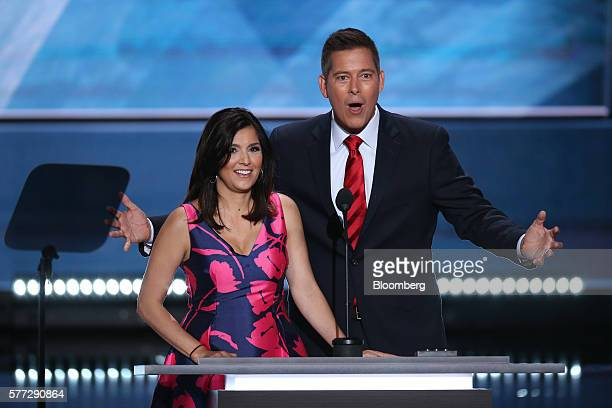 Author Rachel Campos Duffy left listens as Representative Sean Duffy a Republican from Wisconsin speaks during the Republican National Convention in...