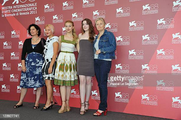 Author Rachel Klein with actresses Valerie Tian Sarah GadonSarah Bolger and director Mary Harron attends The Moth Diaries photocall at the Palazzo...