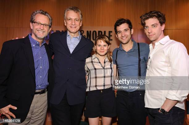 Author Ridley Pearson playwright Rick Elice actress Celia KeenanBolger actor Adam ChanlerBerat and actor Christian Borle attend the 'Peter And The...