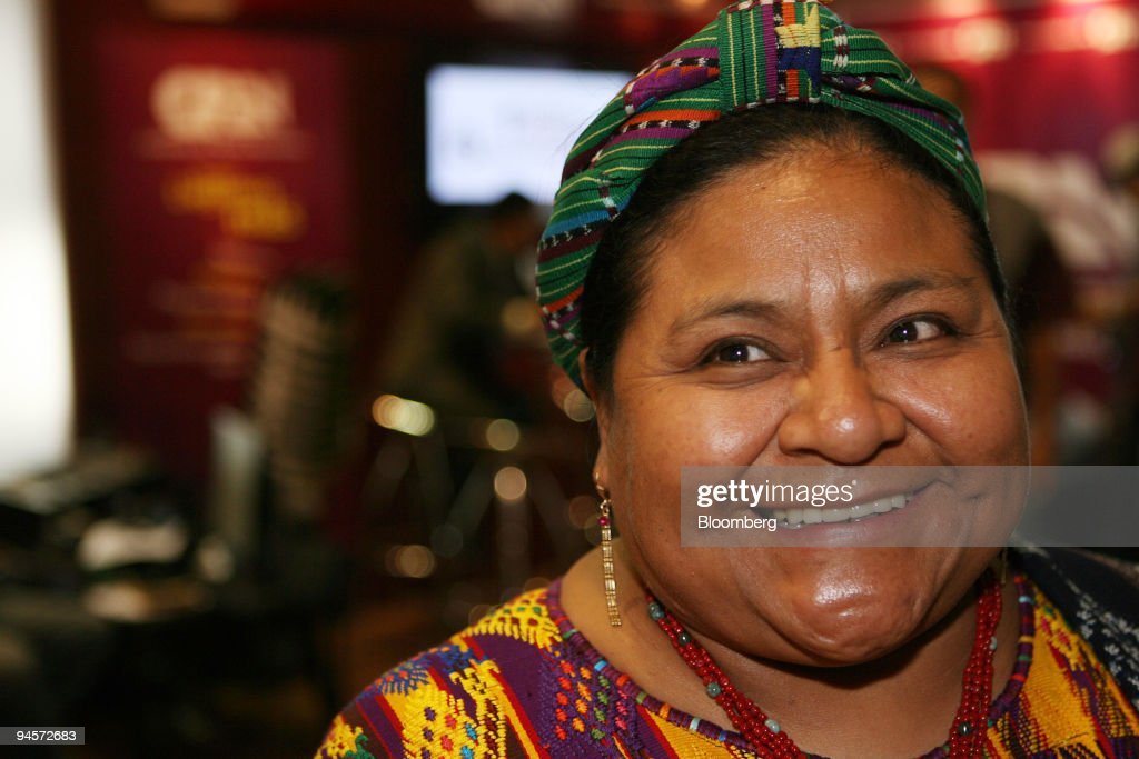Author Rigoberta Menchu, Nobel Peace Prize winner, smiles du : News Photo