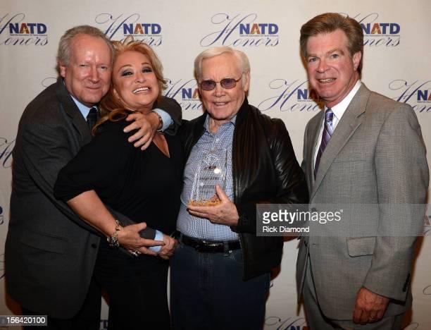 Author Robert Oermann Recording Artist Tanya Tucker presents Singer/Songwriter George Jones his NATD Award along with NATD President Steve Tolman...