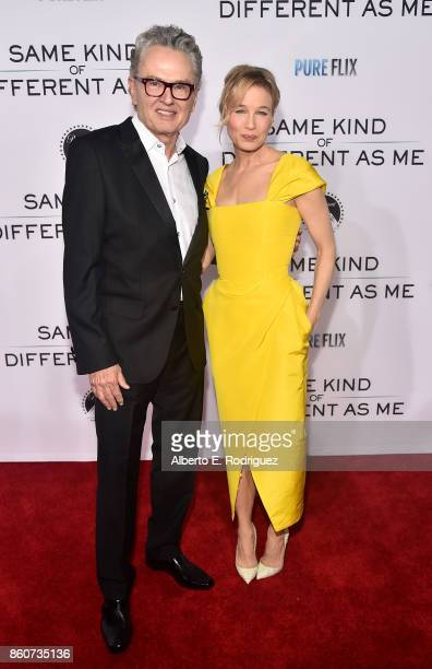 Author Ron Hall and actress Renee Zellweger attend the premiere of Paramount Pictures and Pure Film Entertainment's 'Same Kind Of Different As Me' at...