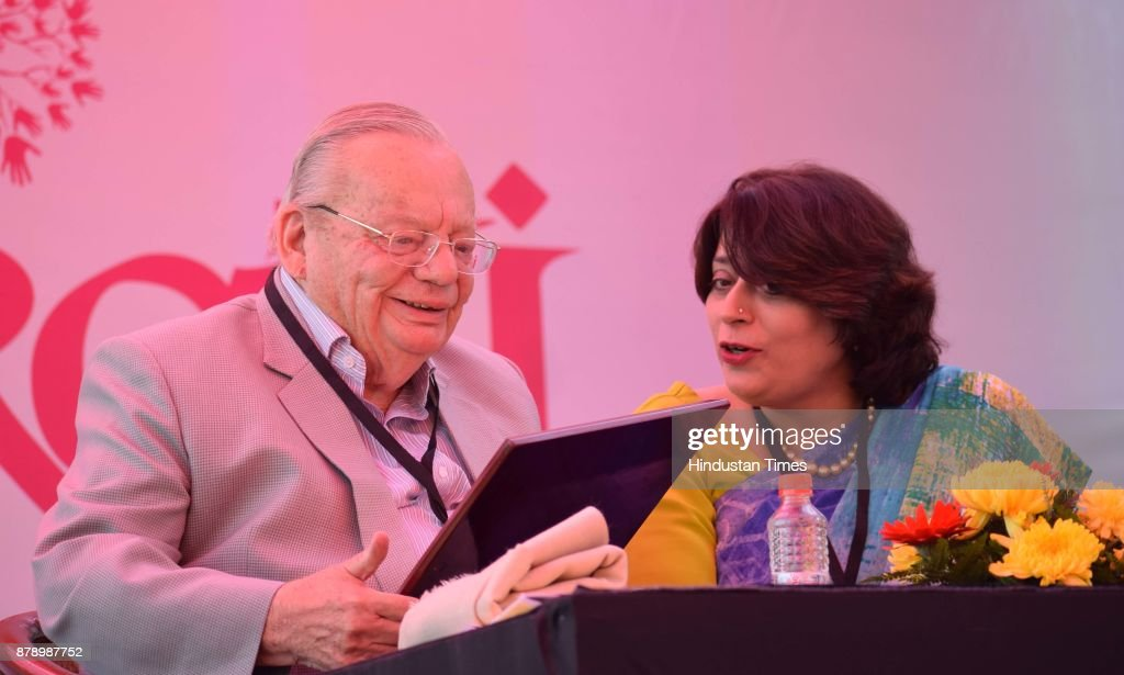 Author Ruskin Bond and Sumita Misra at Chandigarh Literature Festival 2017 at Lake Club on November 25 2017 in Chandigarh India