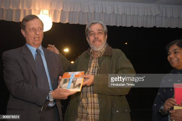Author Saeed Mirza with Miguel Angel Ramirez Ramos Ambassador of Cuba poses for media during the launch of book 'Letter to a Democratic Mother' in...