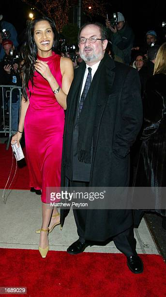 Author Salman and Padma Rushdie arrive at the New York Premiere of The Hours at the Paris Theater December 15 2002 in New York City