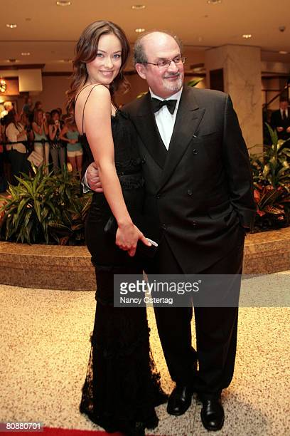 Author Salman Rushdie and actress Olivia Wilde arrive at the White House Correspondents' Association dinner on April 26 2008 in Washington DC