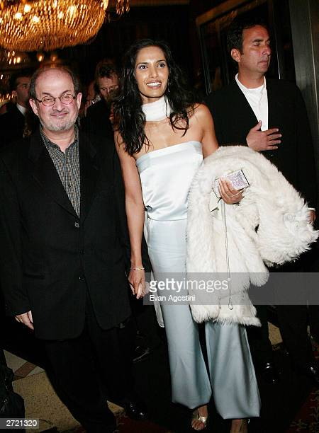Author Salman Rushdie and girlfriend Padma Lakshmi attend the World Premiere of Love Actually at the Ziegfeld Theatre November 06 2003 in New York...