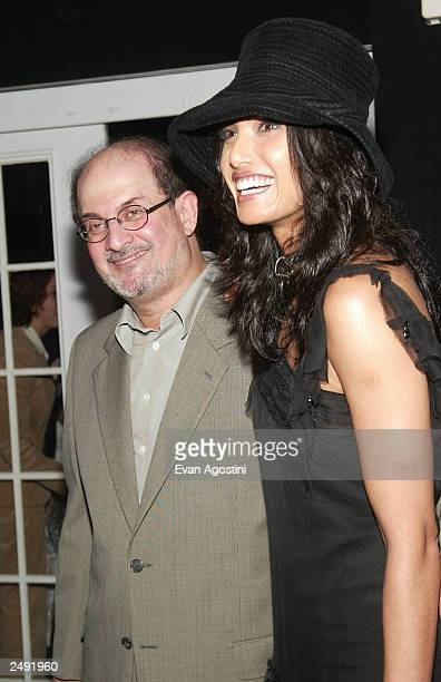 Author Salman Rushdie and girlfriend Padma Lakshmi attend the Zang Toi Spring/Summer 2004 Fashion Show during MercedesBenz Fashion Week at Bryant...