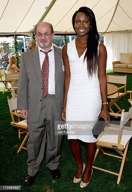 Author Salman Rushdie and guest inside the Cartier Tent during the Cartier International Polo held at Guards Polo Club on July 27 2008 in Windsor...