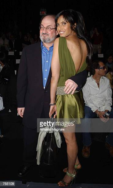 Author Salman Rushdie and his girlfriend Padma Cakshmi attend the Luca Luca Fashion Show February 12 2002 in New York City