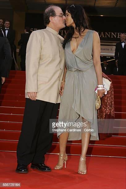 Author Salman Rushdie and his wife Padma Lakshmi arrive for the screening of Comme Une image by Agnes Jaoui at the 2004 Cannes Film Festival