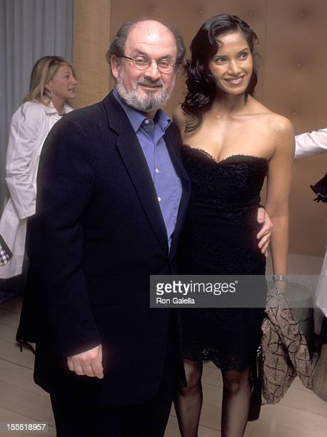 Author Salman Rushdie and model Padma Lakshmi attend the 74th Annual Academy Awards PreParty hosted by Miramax Films on March 23 2002 at Mondrian...