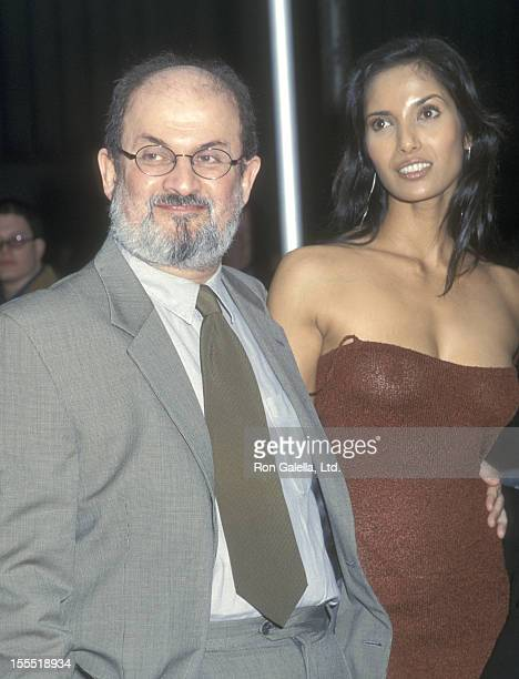 Author Salman Rushdie and model Padma Lakshmi attend The Lord of the Rings The Fellowship of the Ring New York City Premiere on December 13 2001 at...