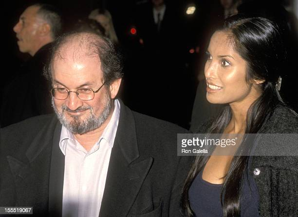 Author Salman Rushdie and model Padma Lakshmi attend The Next Best Thing New York City Premiere on February 29 2000 at Loews Cineplex EWalk in New...