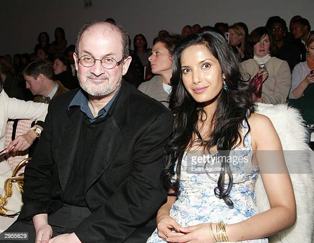Author Salman Rushdie and model Padma Lakshmi pose at the Diane von Furstenberg fashion show during Olympus Fashion Week at 389 West 12th St February...