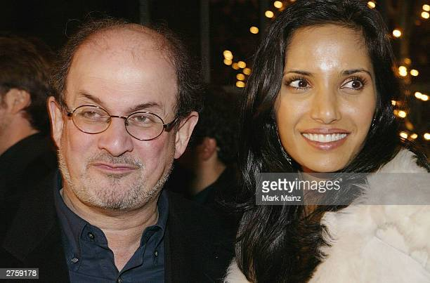 Author Salman Rushdie and Padma Lakshmi attend the after party for the premiere of In America at Cafe St Bart's November 24 2003 in New York City