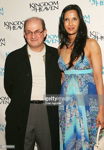 Author Salman Rushdie and Padma Lakshmi attend the 'Kingdom Of Heaven' premiere at the Ziegfeld Theater May 04 2005 in New York City